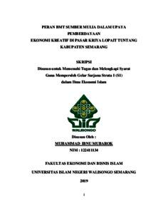 Peran Bmt Sumber Mulia Dalam Upaya Pemberdayaan Ekonomi Kreatif Di Pasar Kriya Lopait Tuntang Kabupaten Semarang Walisongo Repository