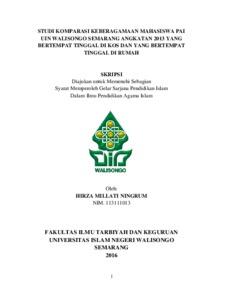 Studi Komparasi Keberagamaan Mahasiswa Pai Uin Walisongo Semarang Angkatan 2013 Yang Bertempat Tinggal Di Kos Dan Yang Bertempat Tinggal Di Rumah Walisongo Repository