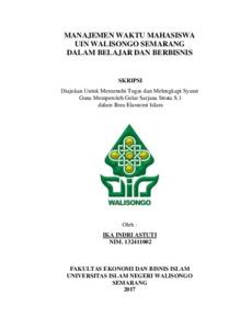 Manajemen Waktu Mahasiswa Uin Walisongo Semarang Dalam Belajar Dan Berbisnis Walisongo Repository