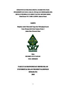 Efektivitas Strategi Digital Marketing Pada Penghimpunan Dana Zakat Infaq Dan Shodaqoh Zis Dengan Pendekatan Direct Rating Method Drm Studi Kasus Nu Care Lazisnu Jakarta Pusat Walisongo Repository