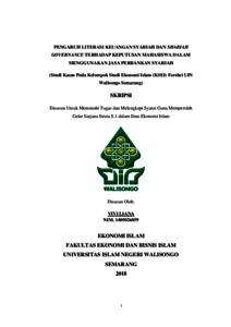 Pengaruh Literasi Keuangan Syariah Dan Shariah Governance Terhadap Keputusan Mahasiswa Dalam Menggunakan Jasa Perbankan Syariah Studi Kasus Pada Kelompok Studi Ekonomi Islam Ksei Forshei Uin Walisongo Semarang Walisongo Repository