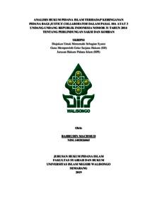 Analisis Hukum Pidana Islam Terhadap Keringanan Pidana Bagi Justice Collaborator Dalam Pasal 10 A Ayat 3 Undang Undang Republik Indonesia Nomor 31 Tahun 2014 Tentang Perlindungan Saksi Dan Korban Walisongo Repository