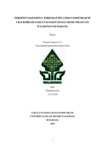 Persepsi Mahasiswa Terhadap Pelatihan Khitobah Di Ukm Kordais Fakultas Dakwah Dan Komunikasi Uin Walisongo Semarang Walisongo Repository